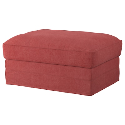GRÖNLID Footstool with storage, Tallmyra light red