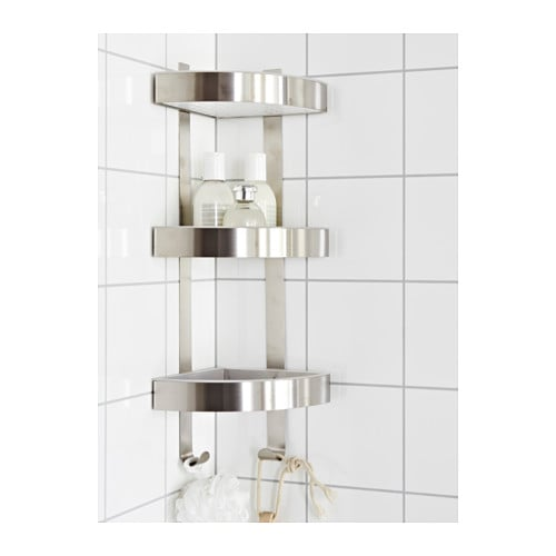 Glass Door Cabinet Ikea Kitchen ~ GRUNDTAL Corner wall shelf unit Stainless steel 26×58 cm  IKEA