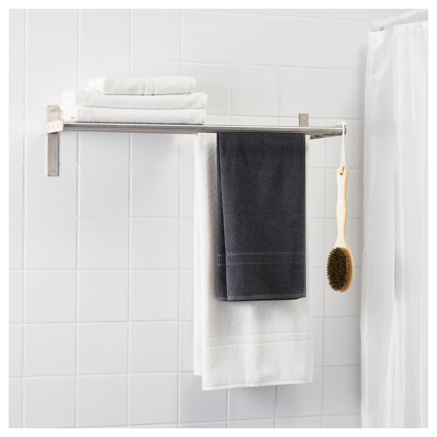 Grundtal towel hanger shelf stainless steel ikea Towel storage ideas ikea