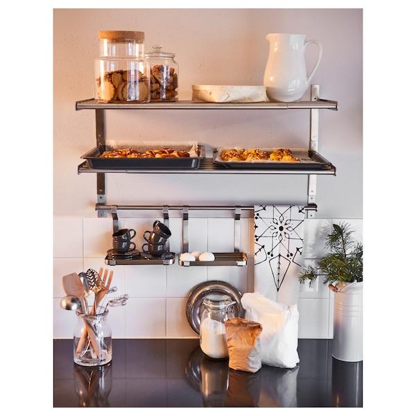 GRUNDTAL Wall shelf, stainless steel, 60 cm