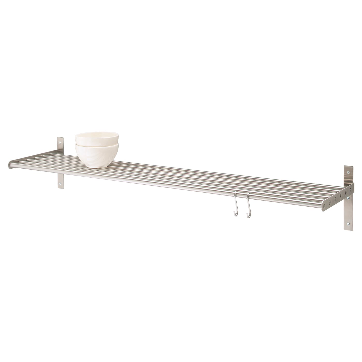IKEA GRUNDTAL wall shelf Saves space on the worktop. Can be used as a pot lid holder as well.