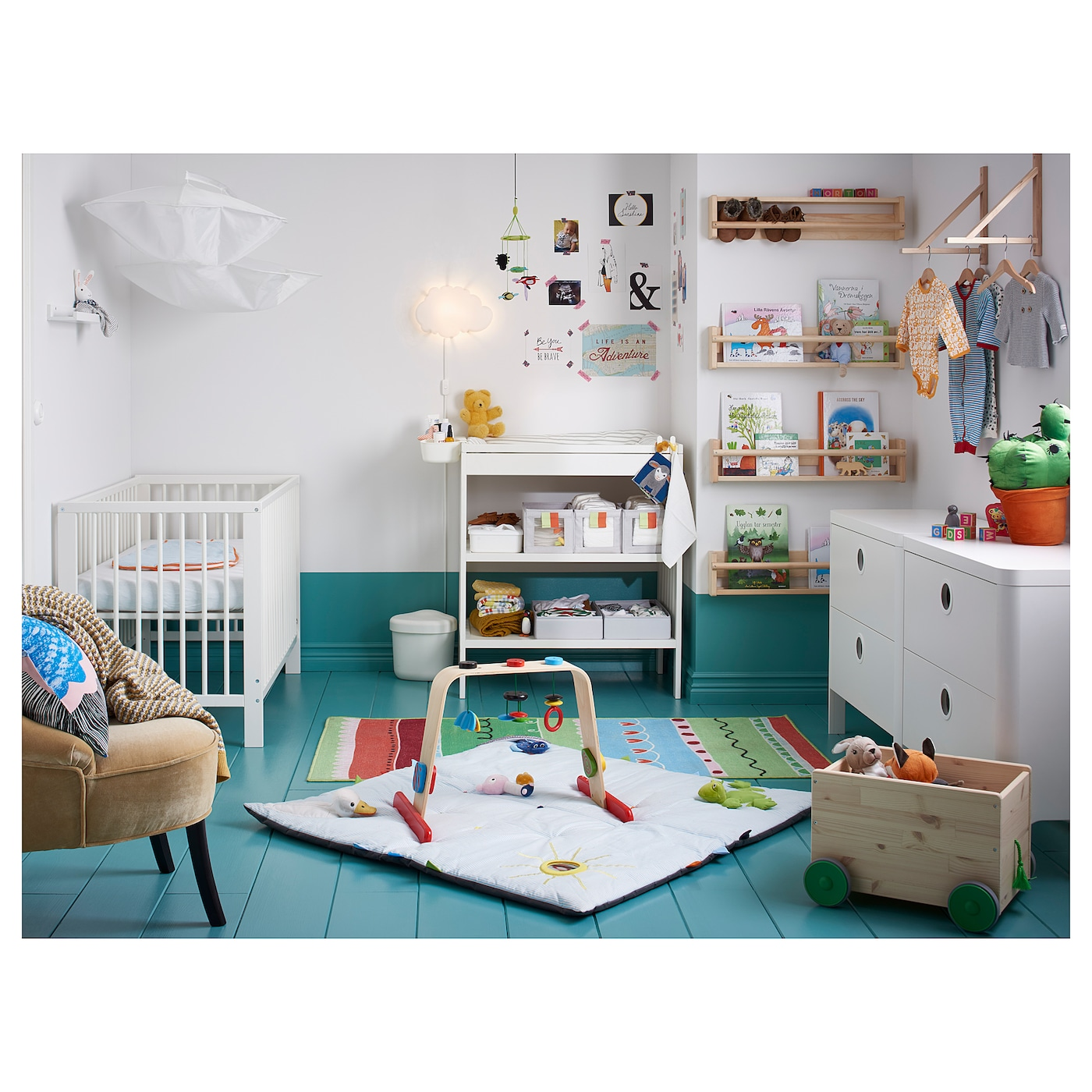 IKEA GULLIVER cot The cot base can be placed at two different heights.