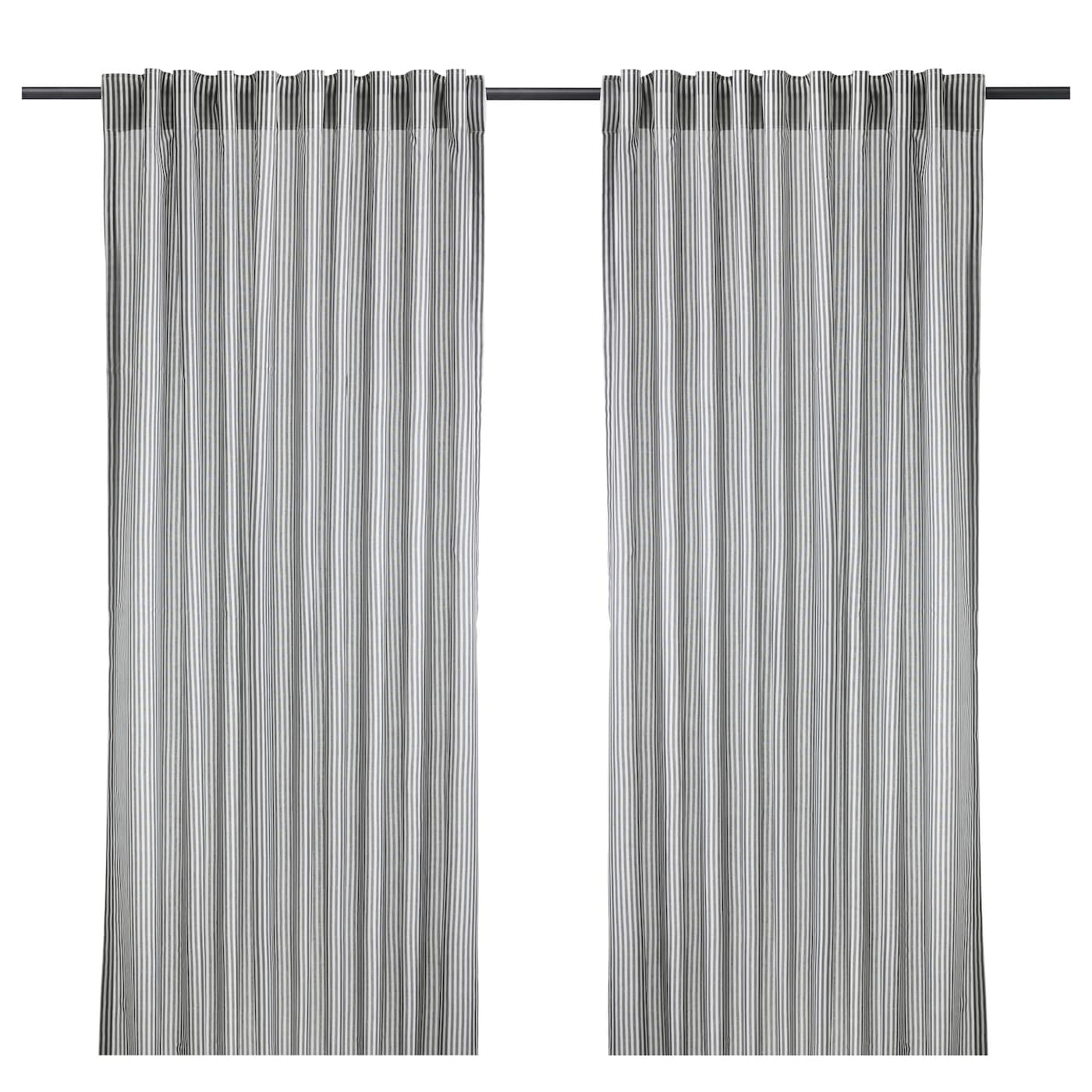 Gulsporre curtains 1 pair white grey 145x250 cm ikea for White curtains ikea