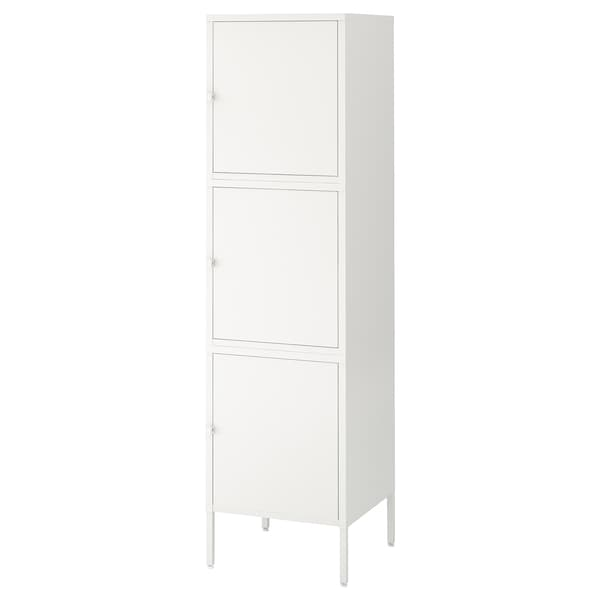 HÄLLAN Storage combination with doors, white, 45x47x167 cm