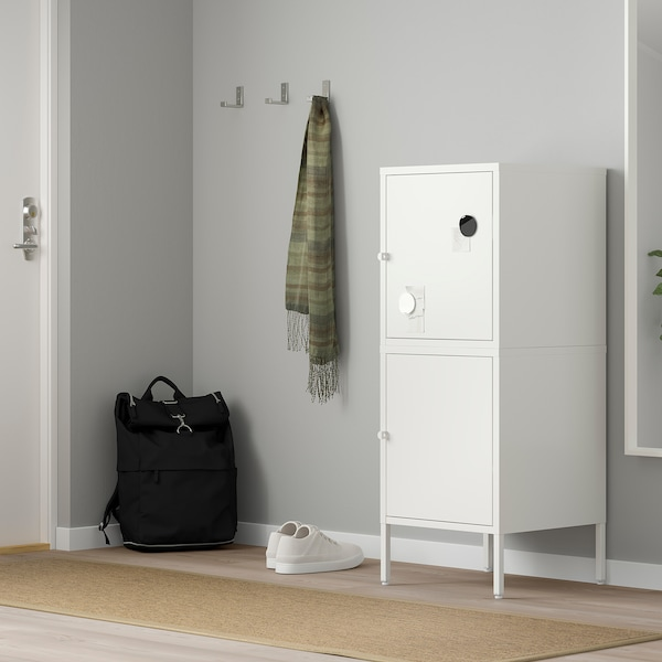 HÄLLAN Storage combination with doors, white, 45x47x117 cm