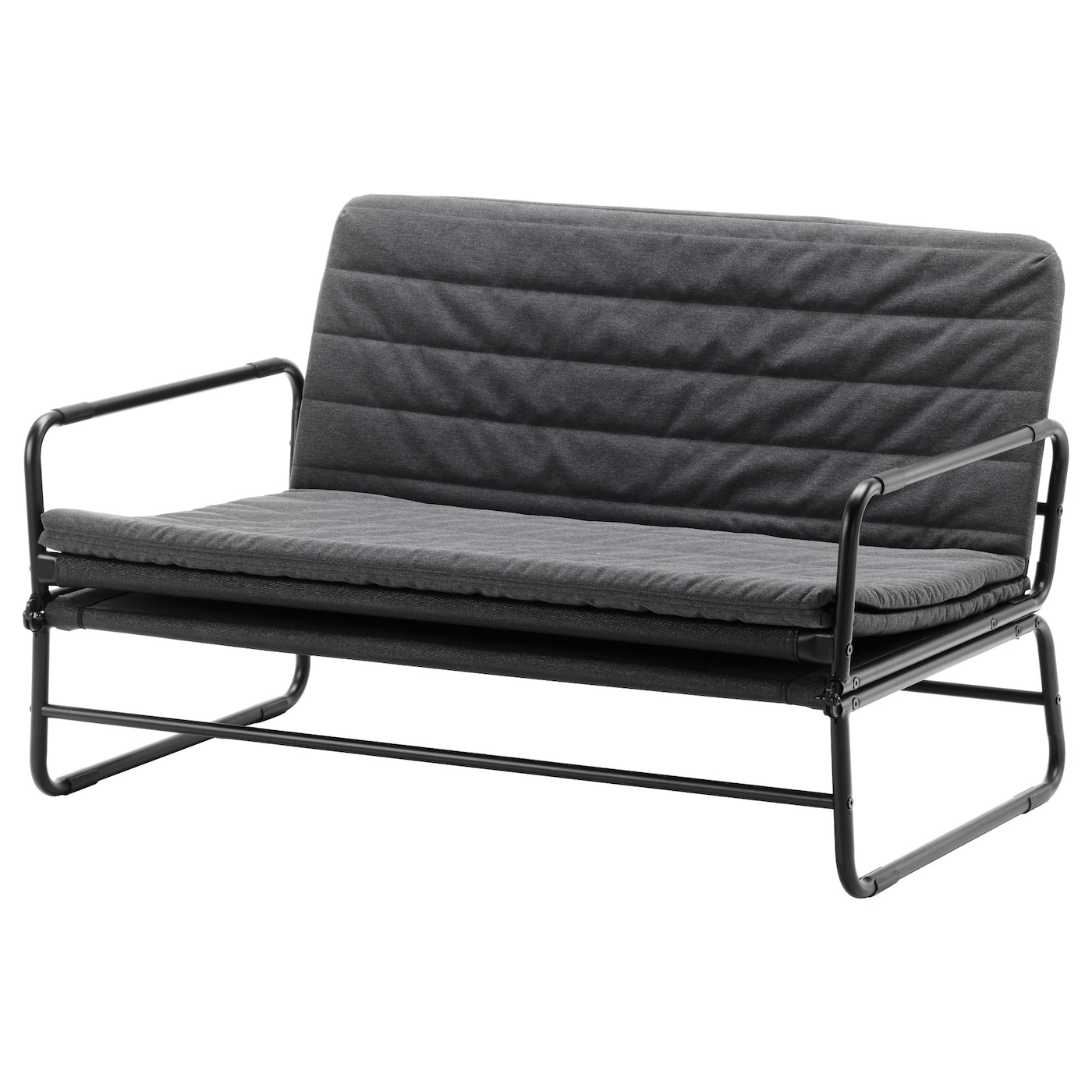 Hammarn sofa bed knisa dark grey black 120 cm ikea for Divan and mattress
