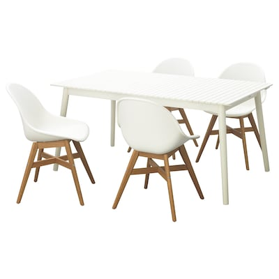 HATTHOLMEN / FANBYN Table+4 chairs, outdoor, white/white