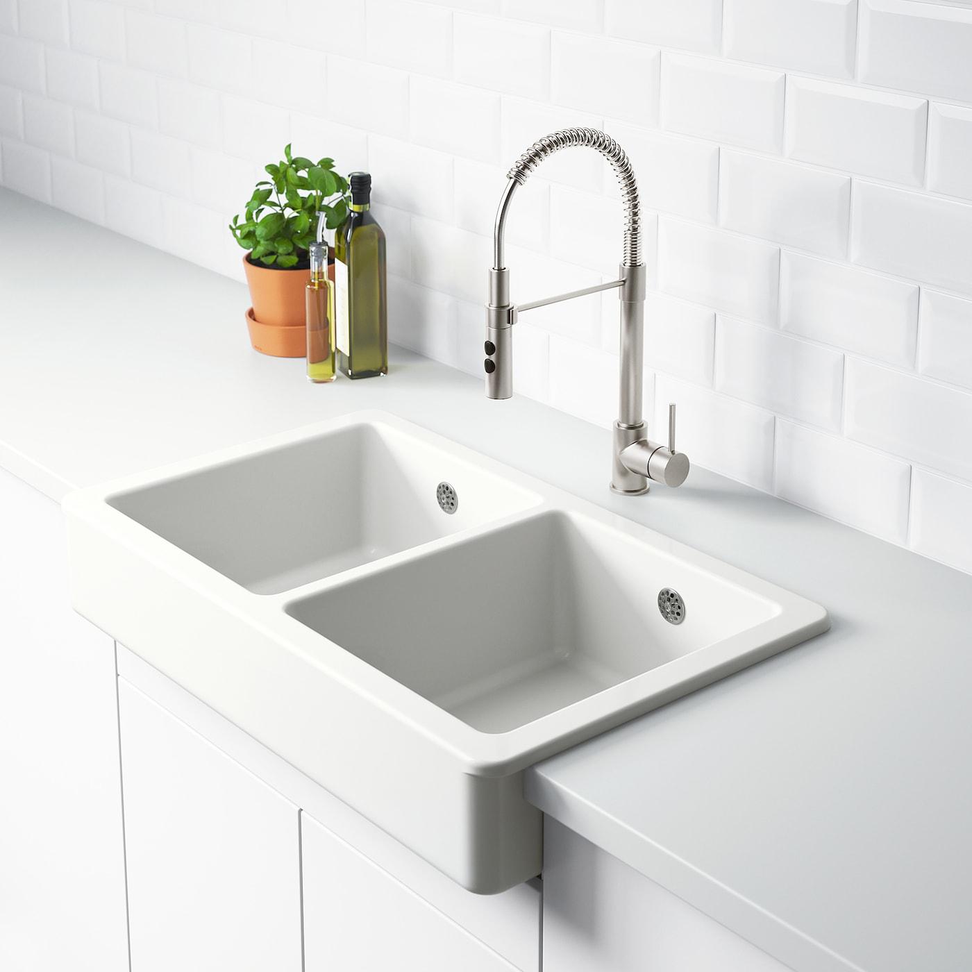 Havsen Sink Bowl 2 Bowls W Visible Front White Ikea Ireland