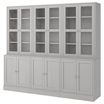 HAVSTA Storage combination w glass-doors, grey, 243x47x212 cm