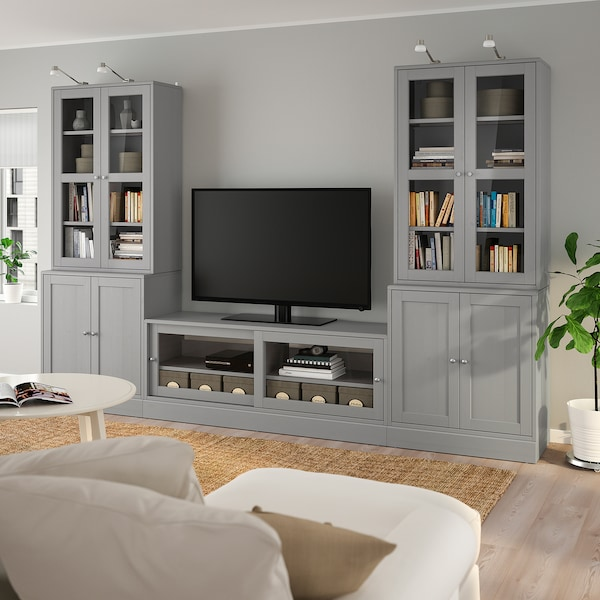 HAVSTA TV storage combination/glass doors, grey, 322x47x212 cm