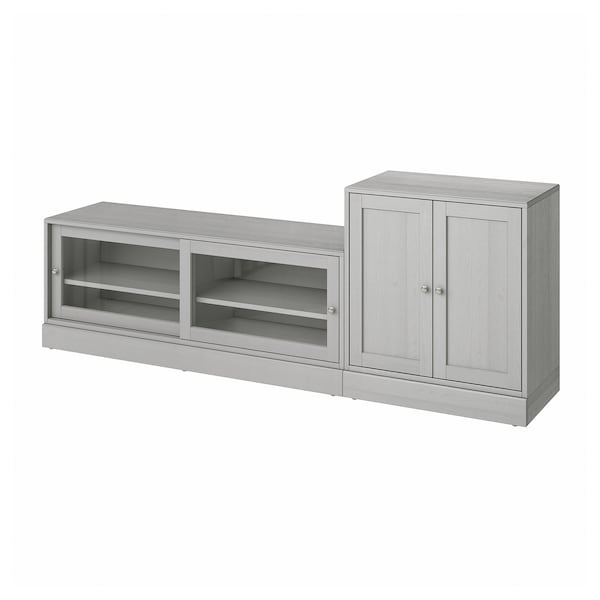 HAVSTA TV storage combination, grey, 241x47x89 cm
