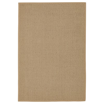 HELLESTED Rug, flatwoven, natural/brown, 133x195 cm