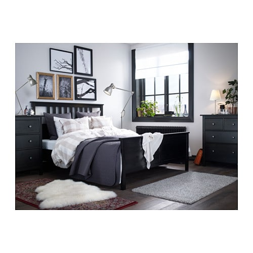 hemnes bed frame black brown leirsund 180x200 cm ikea. Black Bedroom Furniture Sets. Home Design Ideas