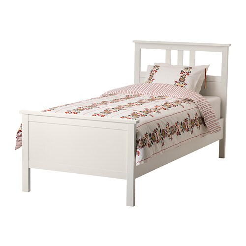 IKEA HEMNES bed frame Made of solid wood, which is a hardwearing and warm natural material.