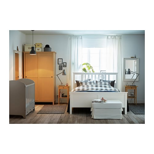 Hemnes bed frame white stain lur y standard double ikea for Camera hemnes ikea