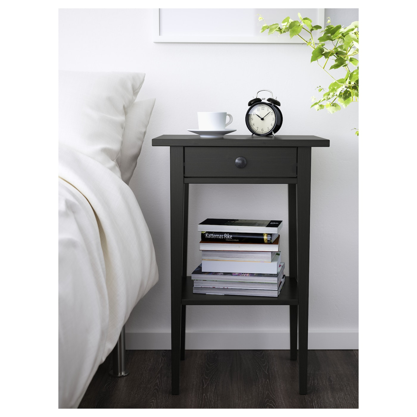 hemnes bedside table black brown 46x35 cm ikea. Black Bedroom Furniture Sets. Home Design Ideas