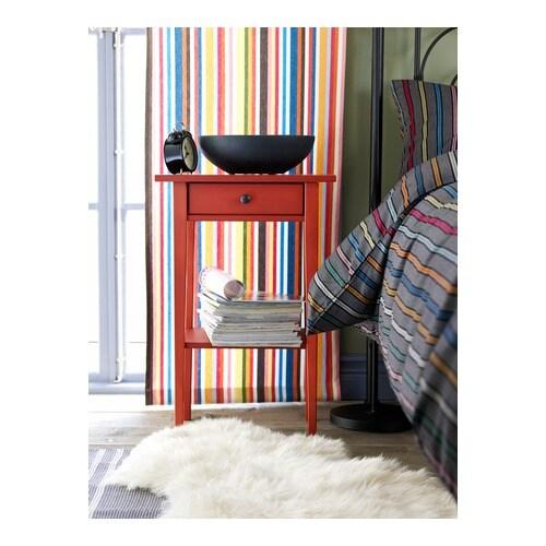 Hemnes Side Table Black Brown 55x55 Cm: HEMNES Bedside Table Red 46x35 Cm