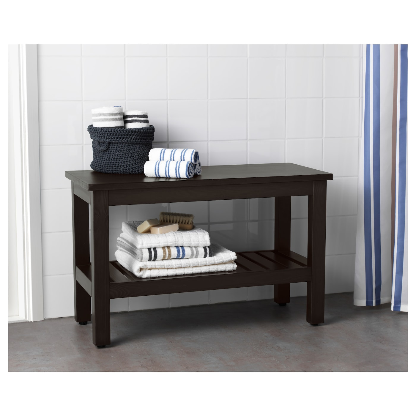 HEMNES Bench Black brown stain 83 cm IKEA