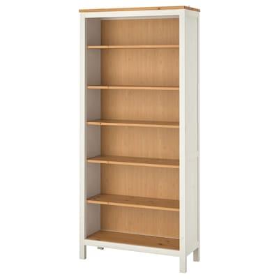 HEMNES Bookcase, white stain/light brown, 90x197 cm