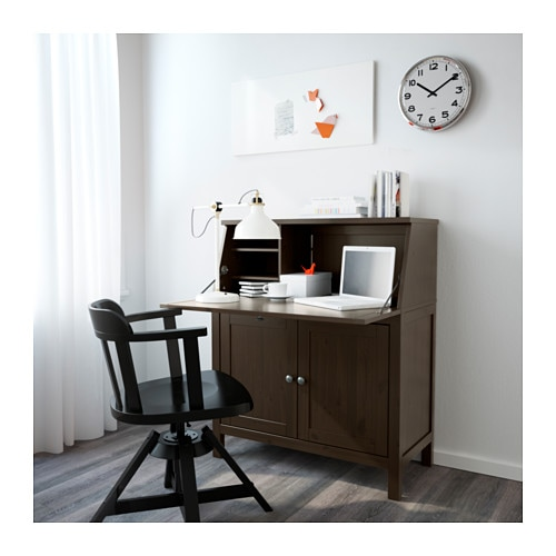 Hemnes bureau black brown 89x108 cm ikea for Bureau en pin ikea