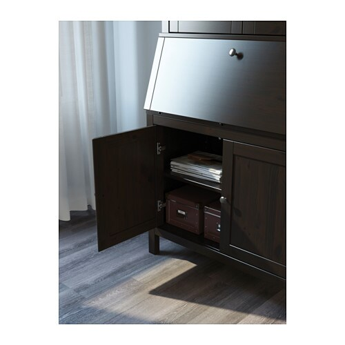 Hemnes bureau with add on unit black brown 89x197 cm ikea - Ikea bureau secretaire ...