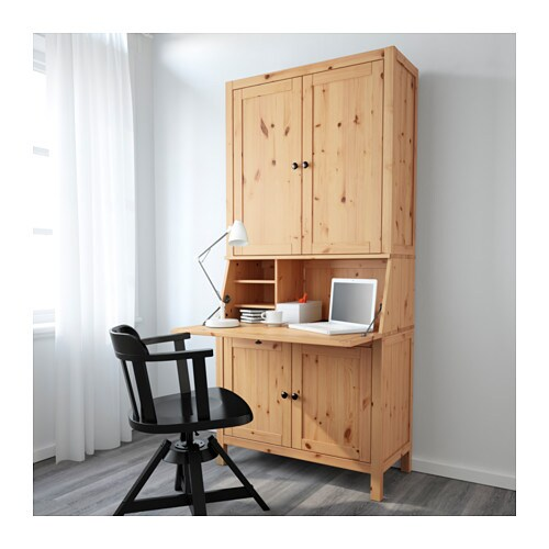 hemnes bureau with add on unit light brown 89x197 cm ikea. Black Bedroom Furniture Sets. Home Design Ideas