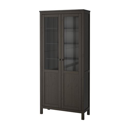 IKEA HEMNES cabinet with panel/glass-door 1 fixed shelf for high stability.