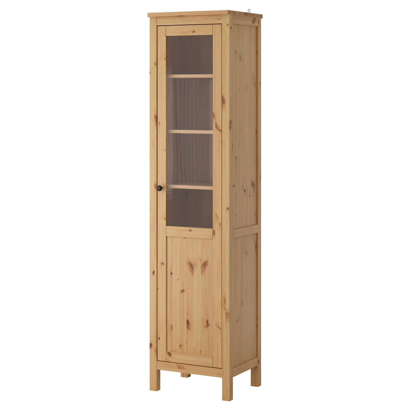 hemnes cabinet with panel glass door light brown 49x197 cm. Black Bedroom Furniture Sets. Home Design Ideas