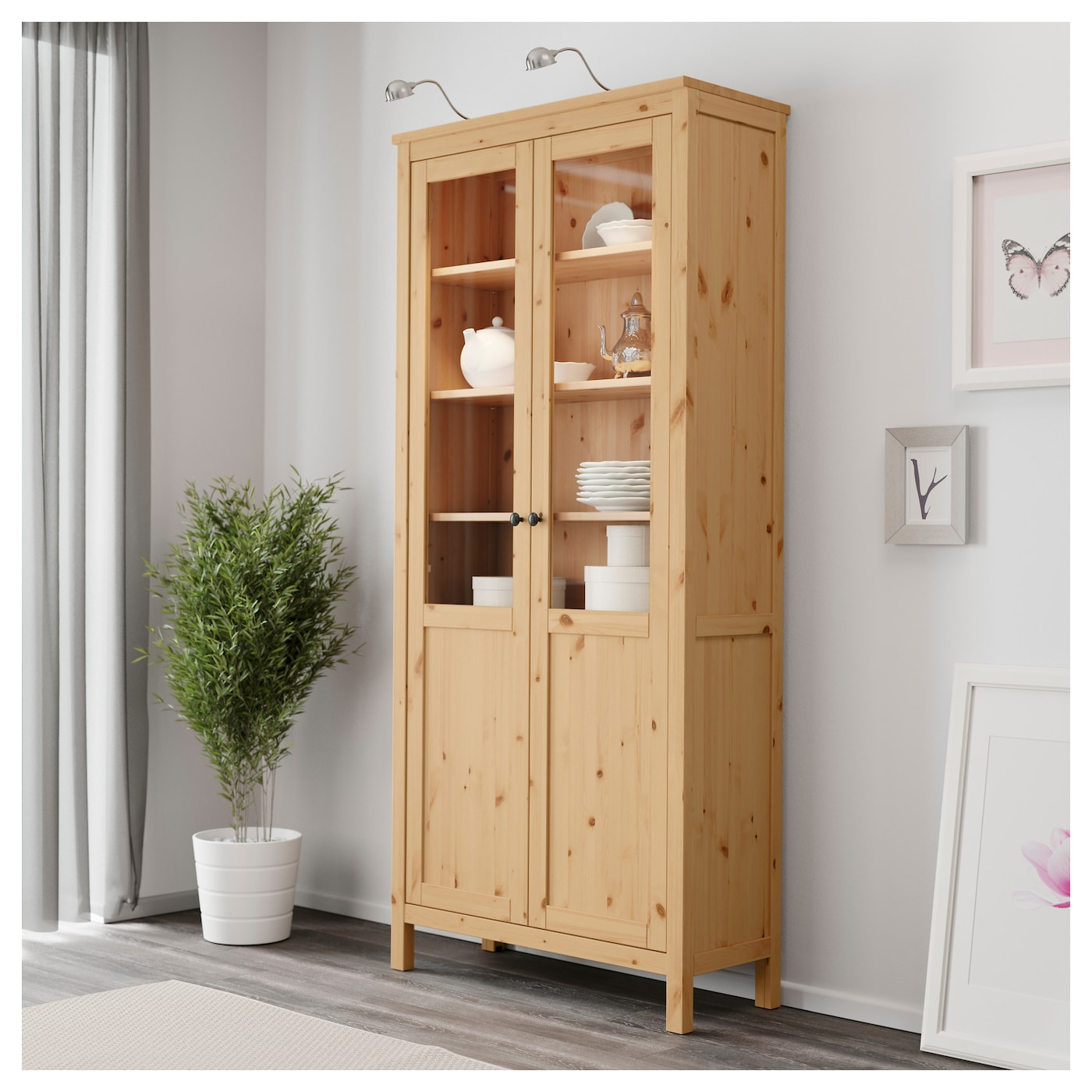 Hemnes cabinet with panel glass door light brown 90x197 cm for Ikea hemnes glass door cabinet