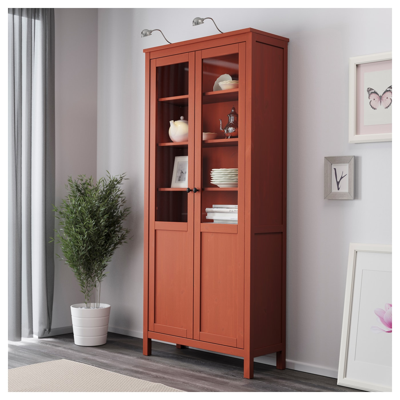 Hemnes cabinet with panel glass door red brown 90x197 cm for Ikea kitchen cabinets solid wood