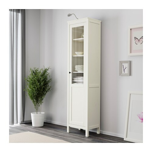 ikea hemnes cabinet with panel glass door solid wood has a natural