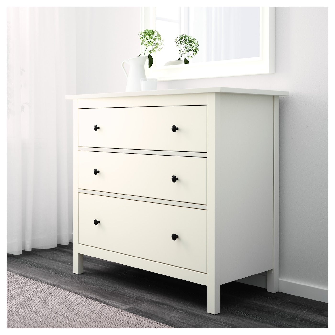 hemnes chest of 3 drawers white 108x95 cm ikea. Black Bedroom Furniture Sets. Home Design Ideas