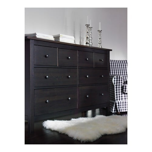 HEMNES Chest of 8 drawers Black-brown 160x95 cm - IKEA