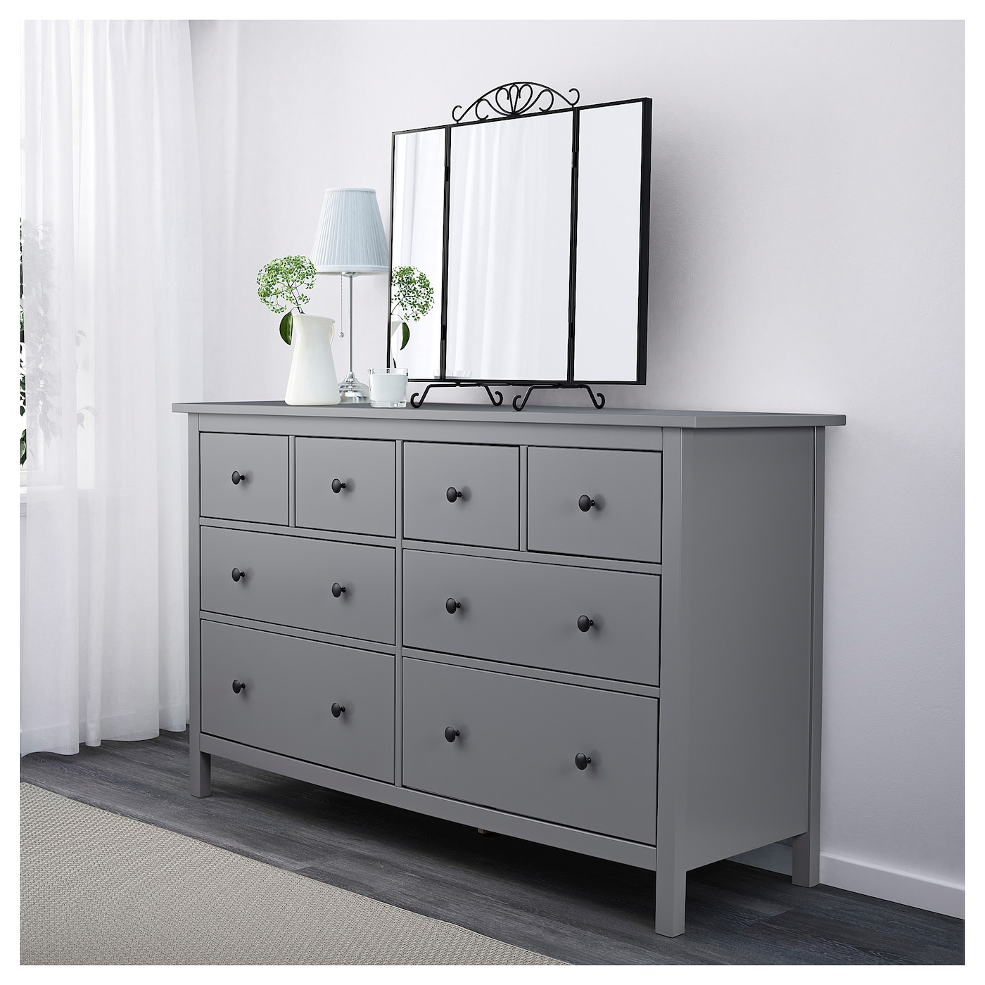 Hemnes chest of 8 drawers grey 160x96 cm ikea for Ikea grey bedroom furniture