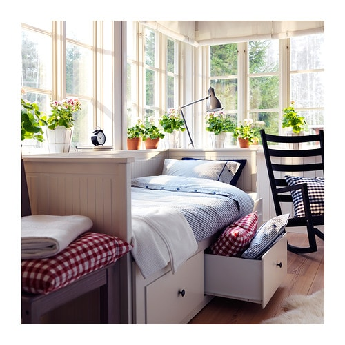 Hemnes day bed frame with 3 drawers white 80x200 cm ikea for Ikea divan