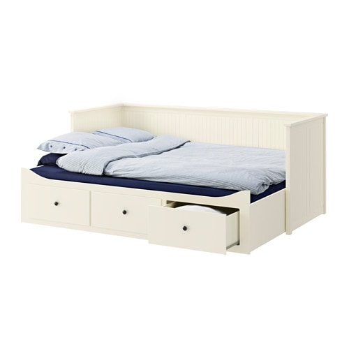 Hemnes day bed frame with 3 drawers white 80x200 cm ikea for Divan double bed frame
