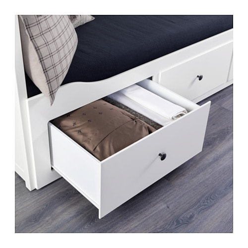 Komplette Zimmereinrichtung Ikea ~ Day bed frame with 3 drawers HEMNES White