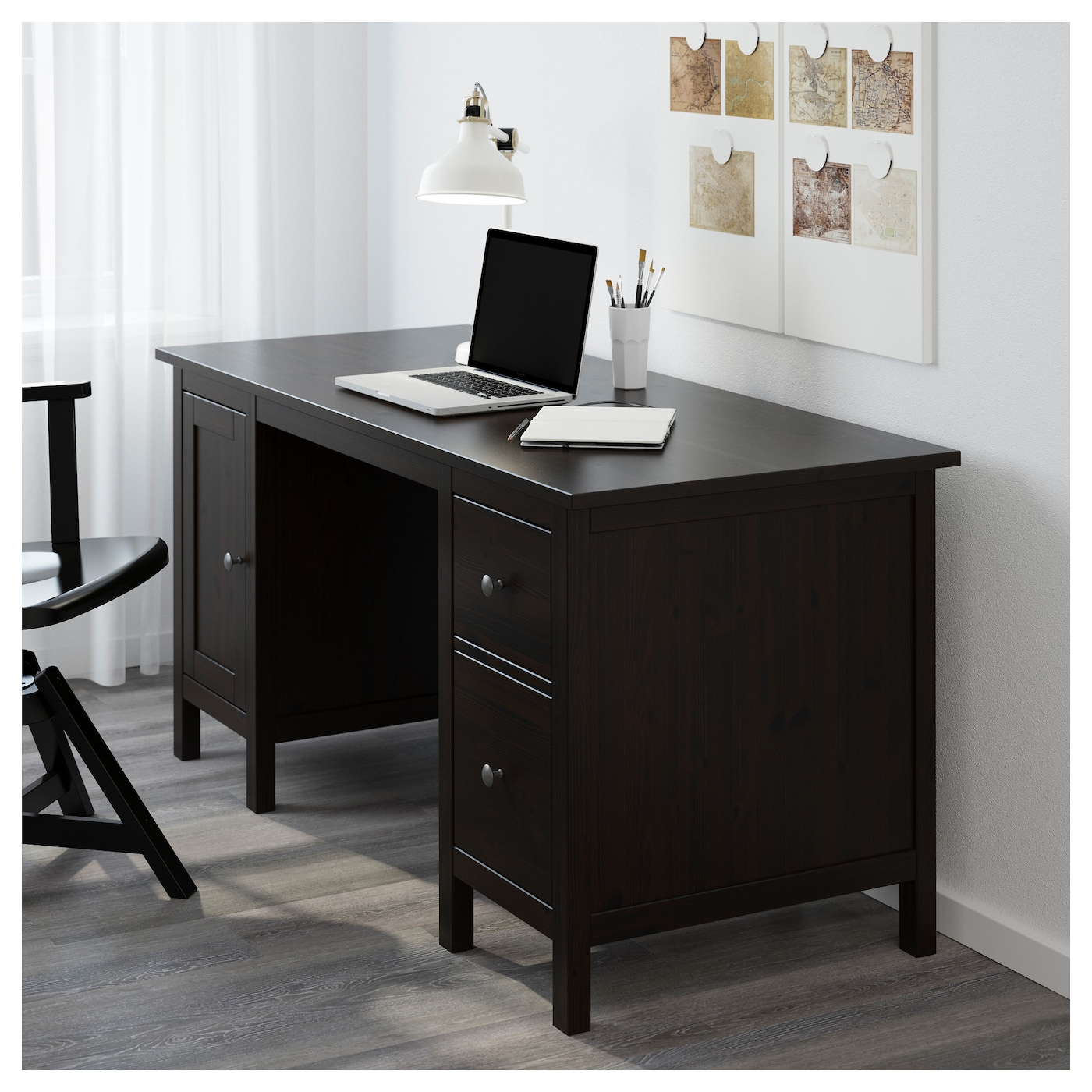 Hemnes desk black brown 155 x 65 cm ikea for Ikea comodino hemnes