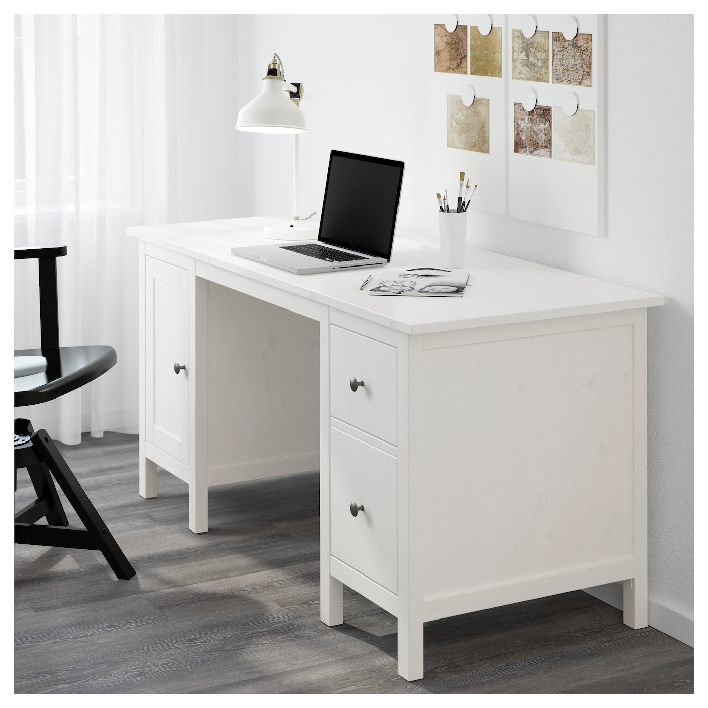 Ikea Hemnes Desk Cable Outlet For Easy Management Solid Wood Is A Durable Natural