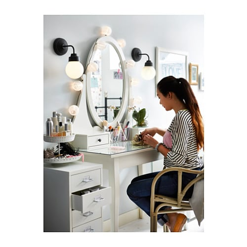 Ikea Schuhschrank Dunkelbraun ~ HEMNES Dressing table with mirror White 100×50 cm  IKEA