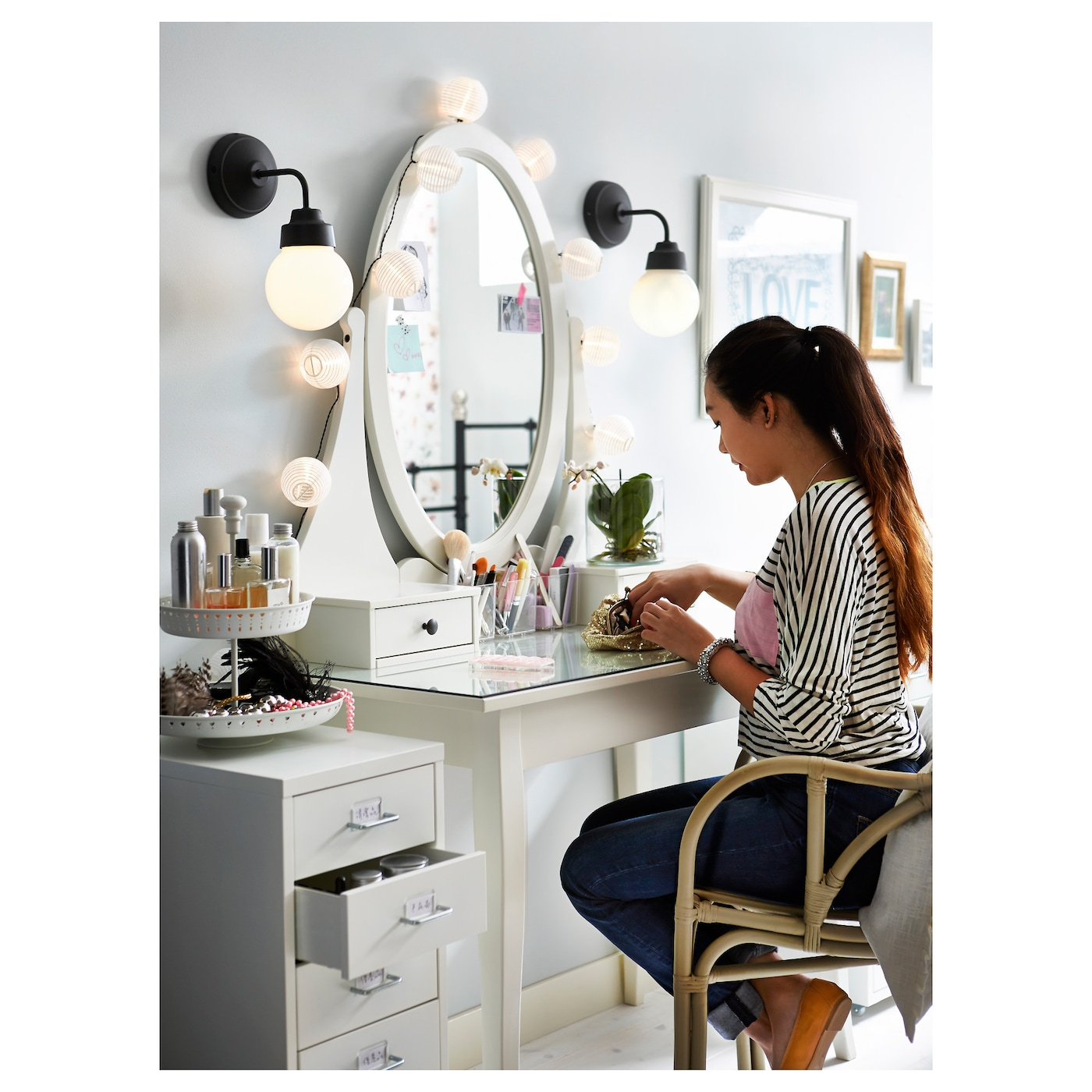 Hemnes dressing table with mirror white 100x50 cm ikea - Agencement dressing ikea ...