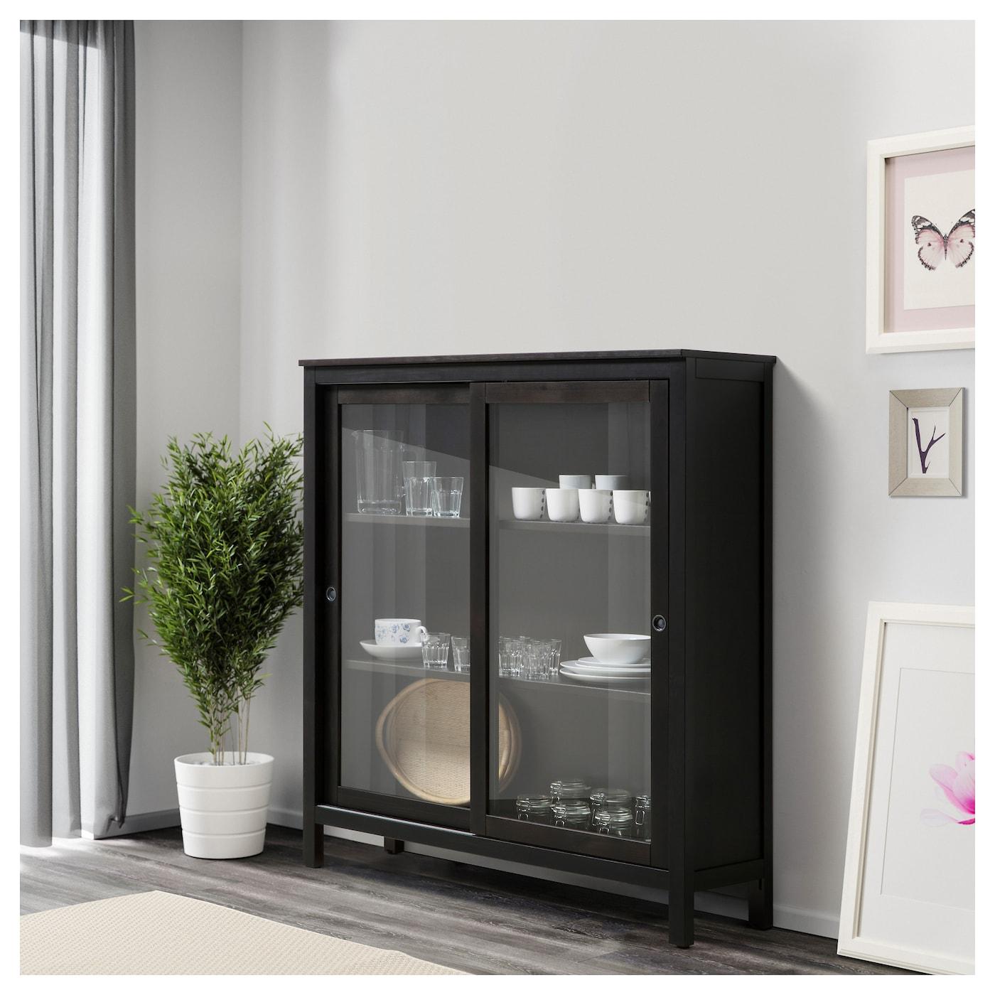 hemnes glass door cabinet black brown 120 x 130 cm ikea. Black Bedroom Furniture Sets. Home Design Ideas