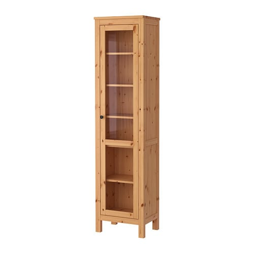 IKEA HEMNES glass-door cabinet Solid wood has a natural feel. 1 fixed shelf for high stability.