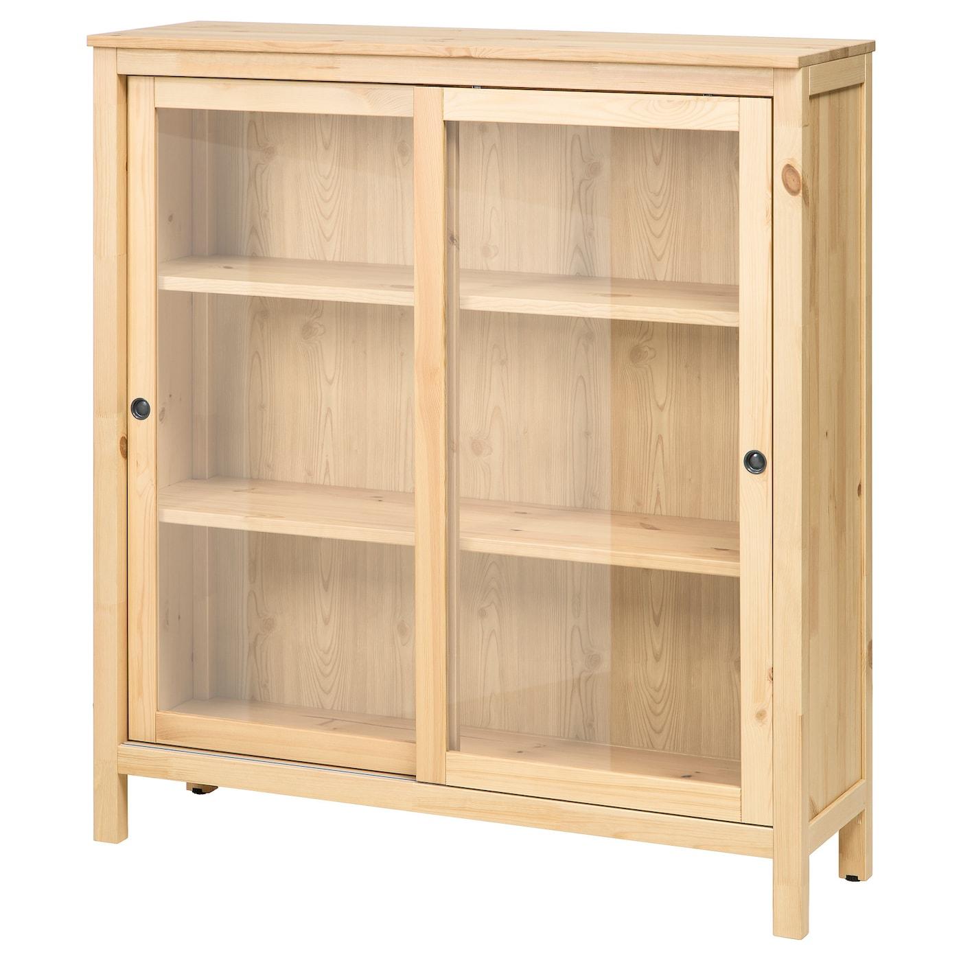 Hemnes glass door cabinet light brown 120x130 cm ikea for Brown sliding glass doors