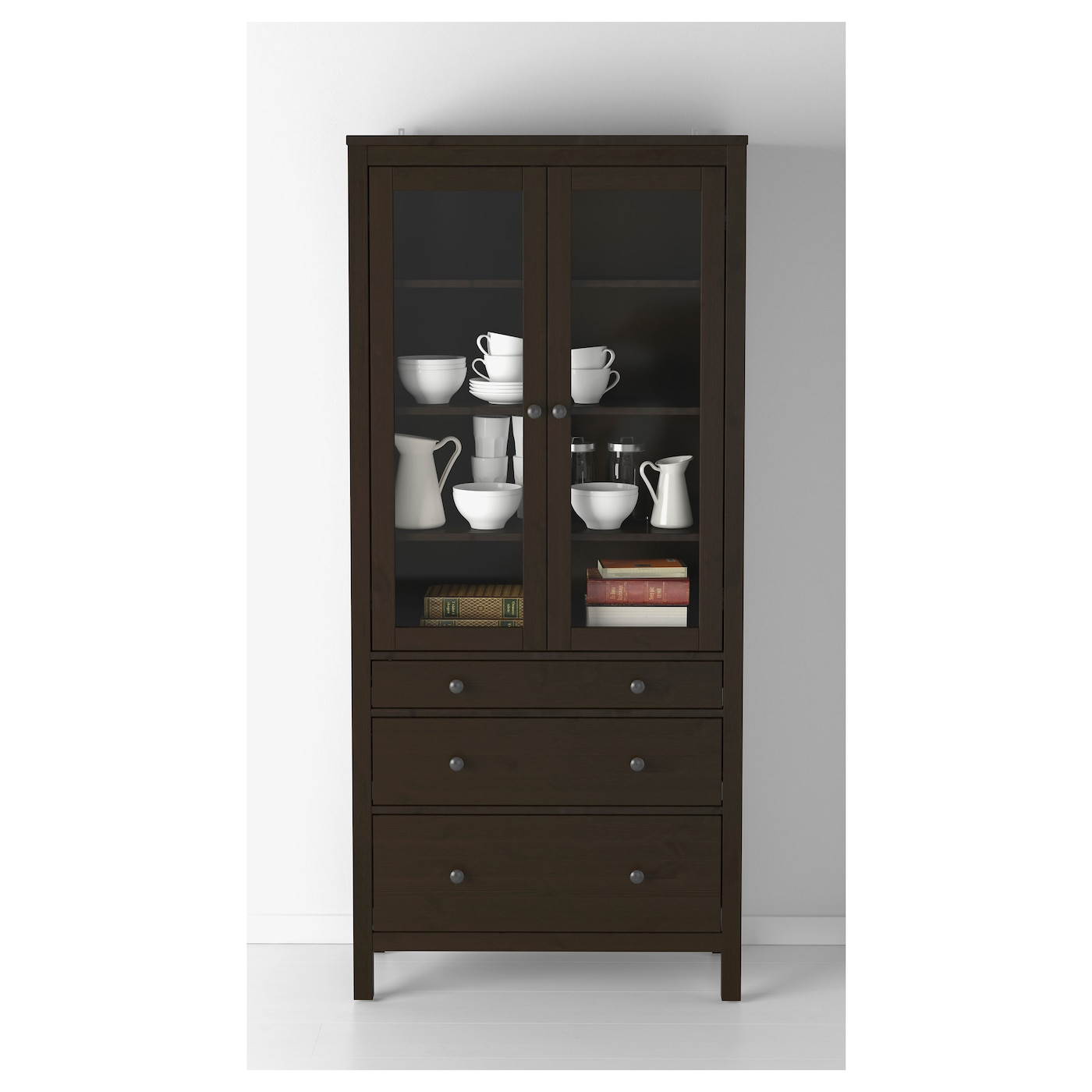 ikea hemnes glass door cabinet with 3 drawers solid wood has a natural