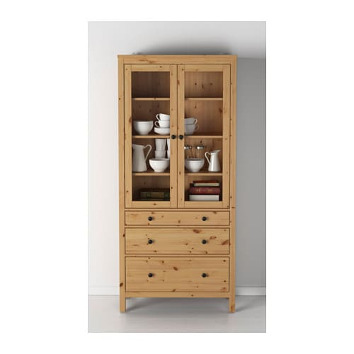 Ikea Schreibtisch Kombination ~ IKEA HEMNES glass door cabinet with 3 drawers Solid wood has a natural