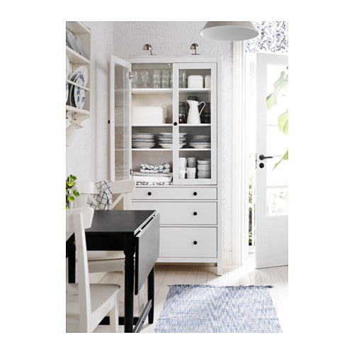 Hemnes glass door cabinet with 3 drawers white stain for Hemnes wohnzimmer