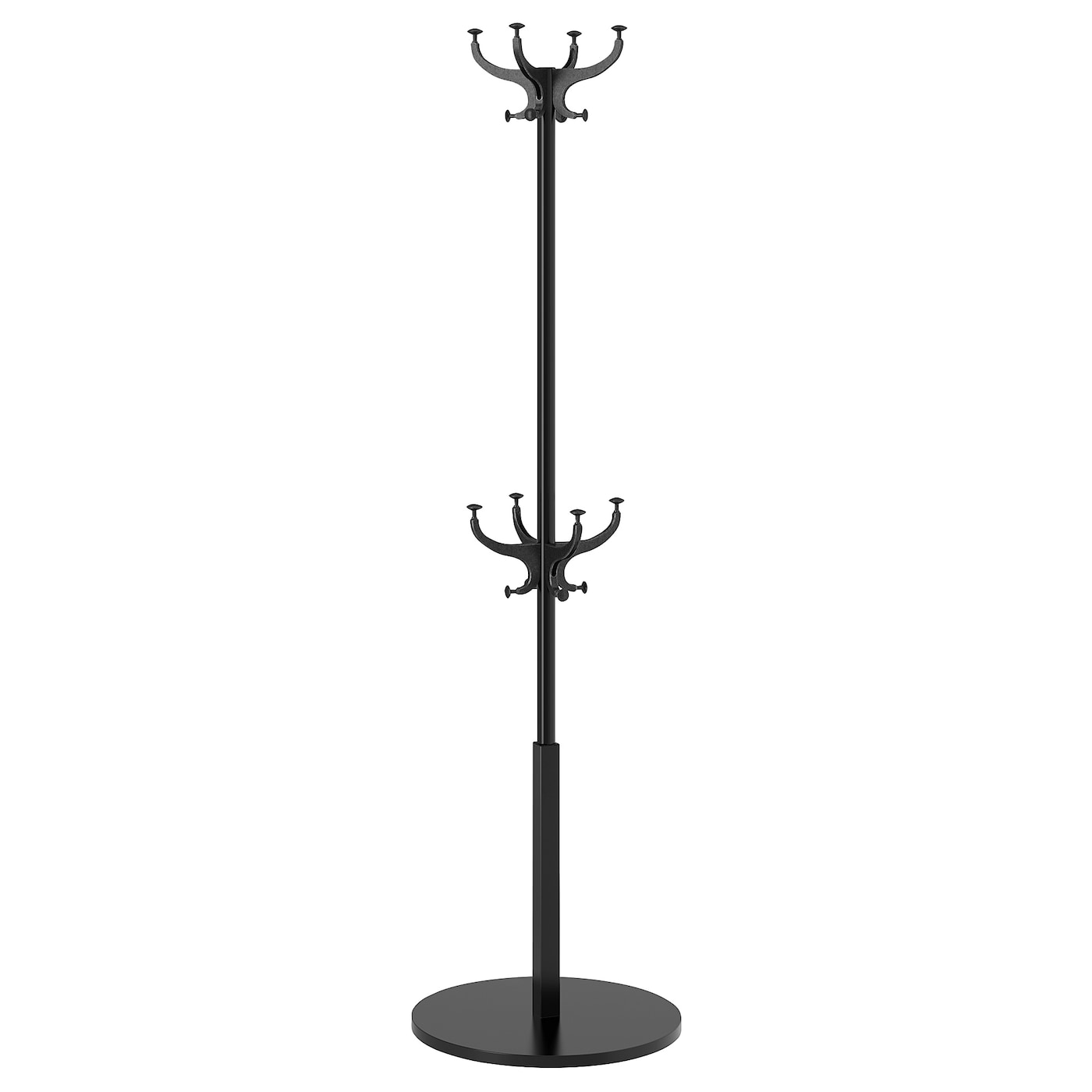 IKEA HEMNES hat and coat stand Also stands steady on an uneven floor since the feet can be adjusted.
