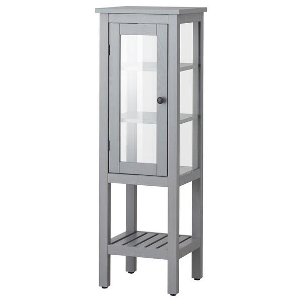 HEMNES High cabinet with glass door, grey, 42x38x131 cm