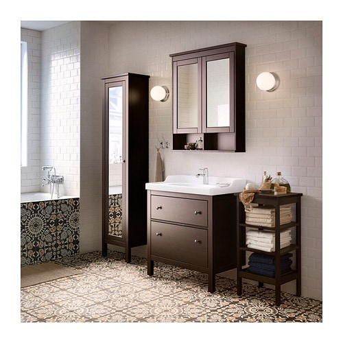Hemnes high cabinet with mirror door black brown stain 49x31x200 cm ikea - Ikea fr salle de bain ...